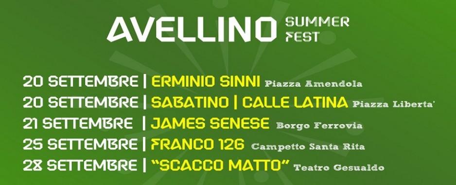 Calendario definitivo dell'ultima parte di Avellino Summer Fest